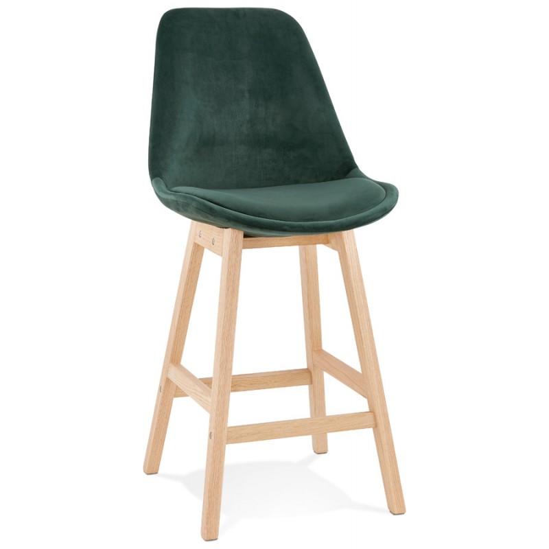 Tabouret de bar mi-hauteur design scandinave en velours pieds couleur naturelle CAMY MINI (vert) - image 45634