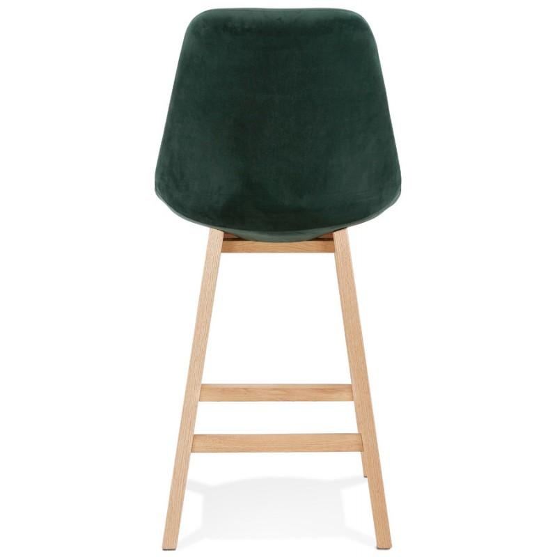 Tabouret de bar mi-hauteur design scandinave en velours pieds couleur naturelle CAMY MINI (vert) - image 45638