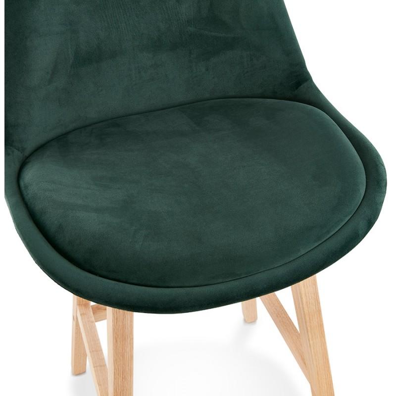 Tabouret de bar mi-hauteur design scandinave en velours pieds couleur naturelle CAMY MINI (vert) - image 45639