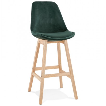 Scandinavian design bar stool in natural-colored feet CAMY (green)