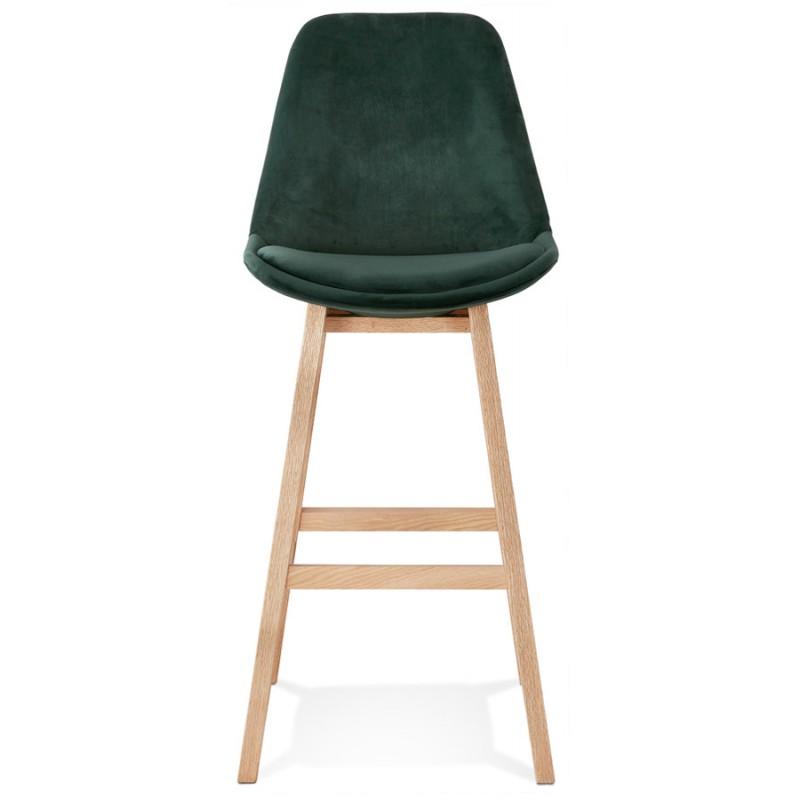 Scandinavian design bar stool in natural-colored feet CAMY (green) - image 45645