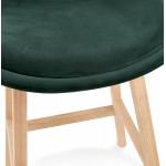 Tabouret de bar design scandinave en velours pieds couleur naturelle CAMY (vert)