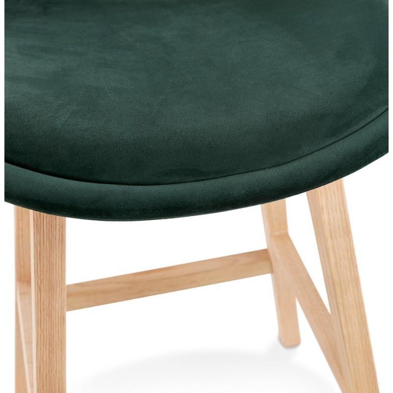 Tabouret de bar design scandinave en velours pieds couleur naturelle CAMY (vert) - image 45650