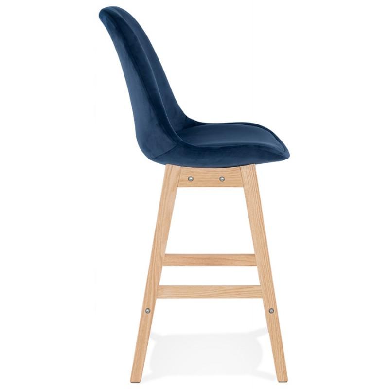 Tabouret de bar mi-hauteur design scandinave en velours pieds couleur naturelle CAMY MINI (bleu) - image 45656