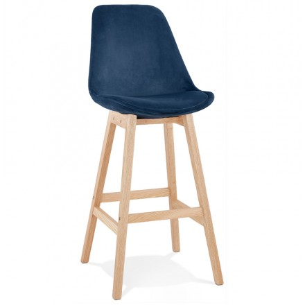 Scandinavian design bar stool in natural-colored feet CAMY (blue)