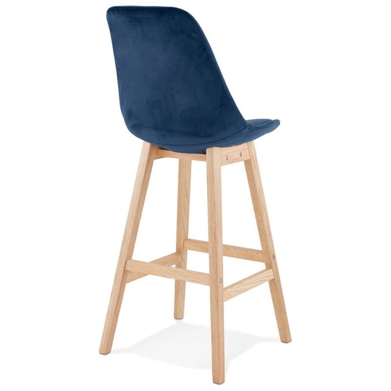Tabouret de bar design scandinave en velours pieds couleur naturelle CAMY (bleu) - image 45667