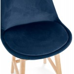 Tabouret de bar design scandinave en velours pieds couleur naturelle CAMY (bleu)