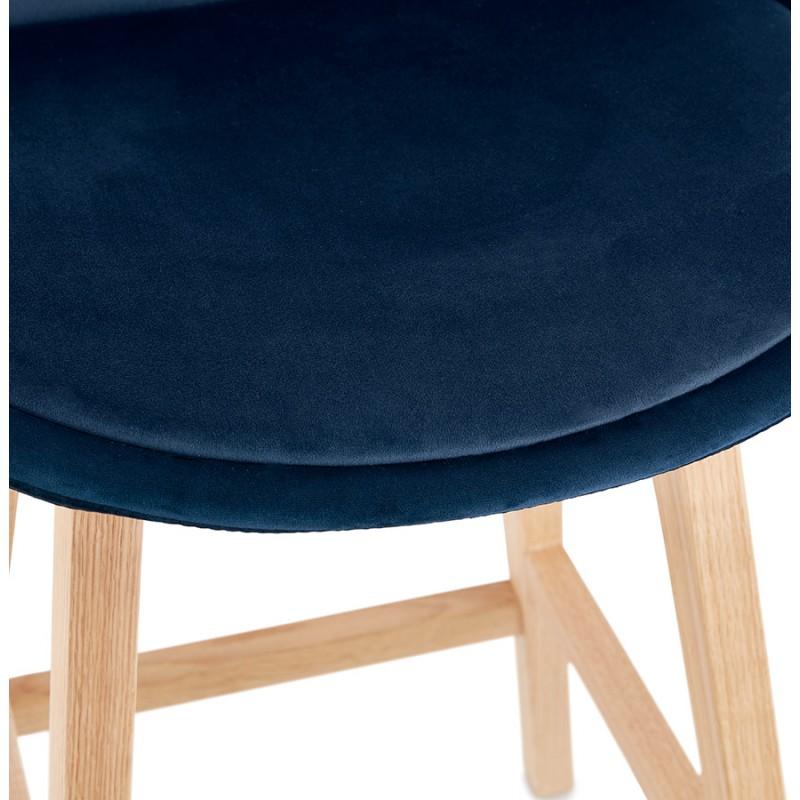 Tabouret de bar design scandinave en velours pieds couleur naturelle CAMY (bleu) - image 45670