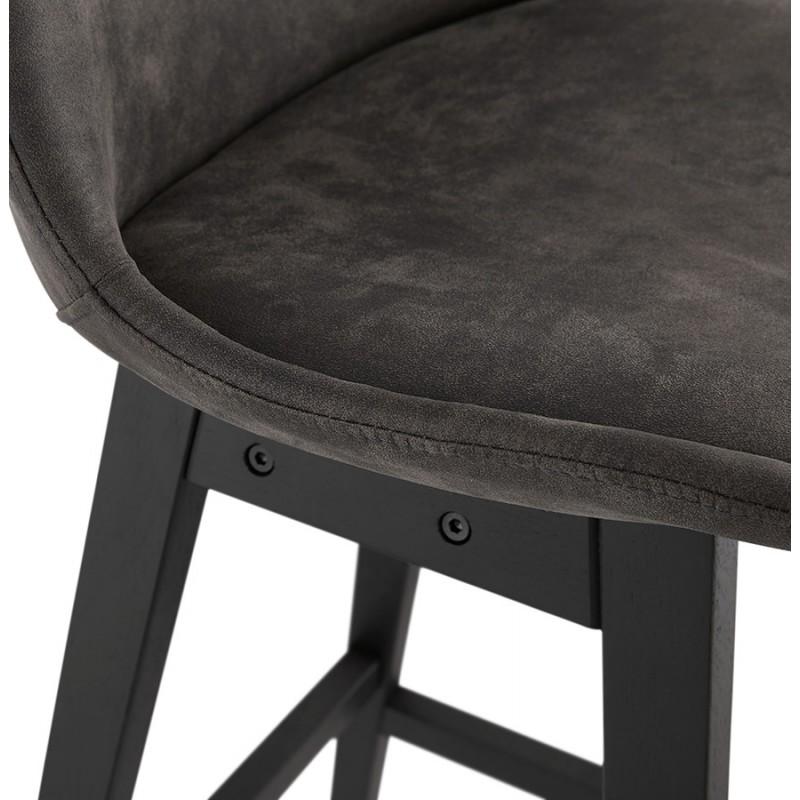 Tabouret de bar mi-hauteur vintage en microfibre pieds noirs LILY MINI (gris foncé) - image 45681