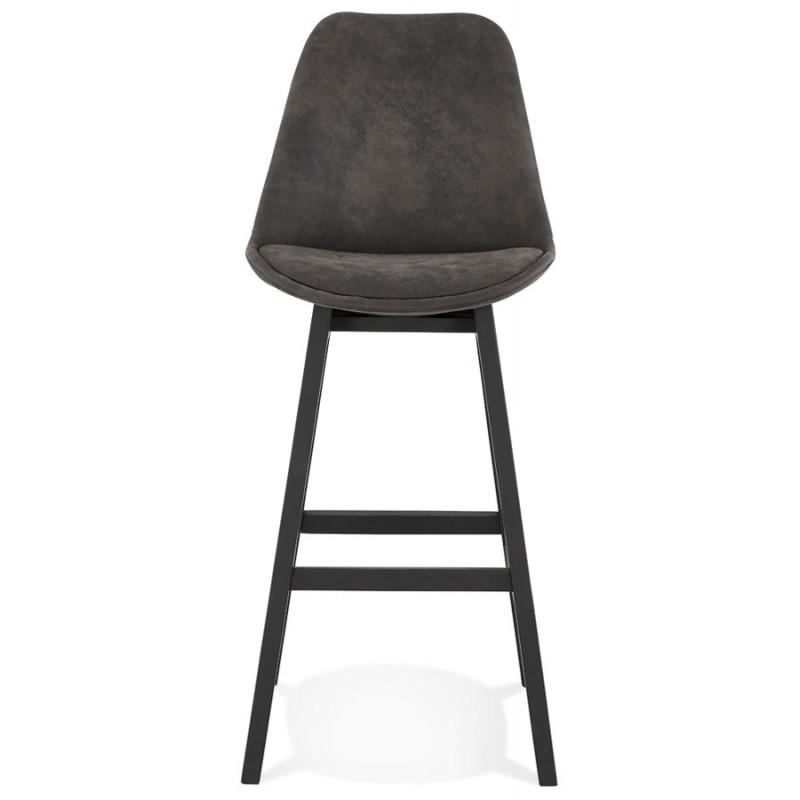 Tabouret de bar vintage en microfibre pieds métal noir LILY (gris foncé) - image 45685