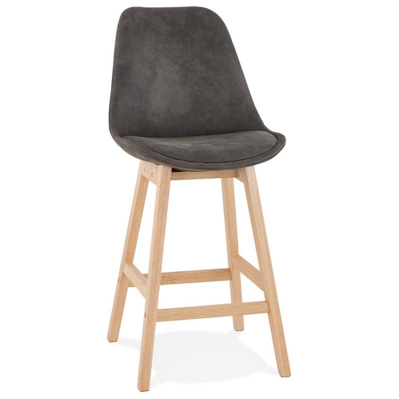 Mid-height bar pad Scandinavian design in microfiber feet natural color LILY MINI (dark grey) - image 45694