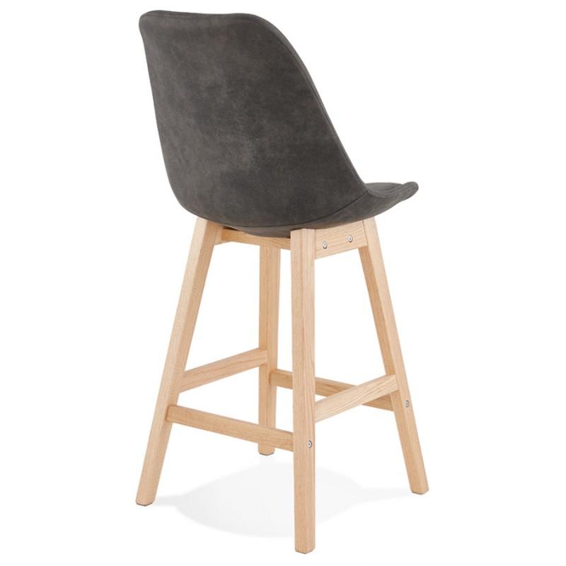 Mid-height bar pad Scandinavian design in microfiber feet natural color LILY MINI (dark grey) - image 45697