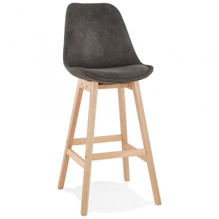 Scandinavian design bar stool in microfiber feet natural color LILY (dark grey)