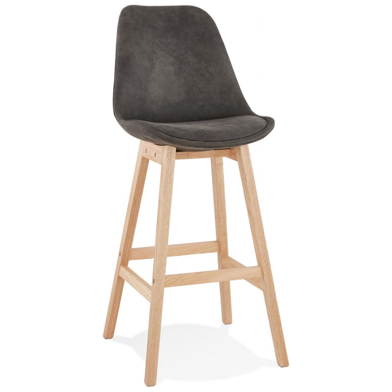 Scandinavian design bar stool in microfiber feet natural color LILY (dark grey) - image 45706