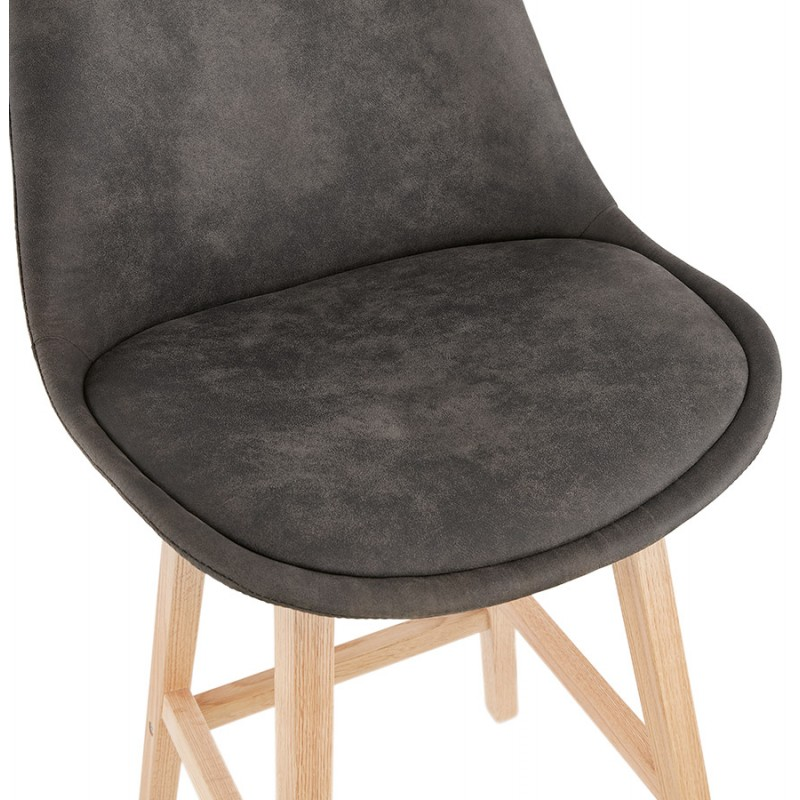 Scandinavian design bar stool in microfiber feet natural color LILY (dark grey) - image 45711