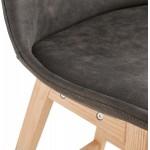 Tabouret de bar design scandinave en microfibre pieds couleur naturelle LILY (gris foncé)
