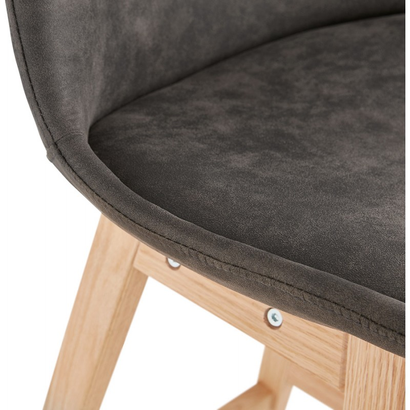Tabouret de bar design scandinave en microfibre pieds couleur naturelle LILY (gris foncé) - image 45713