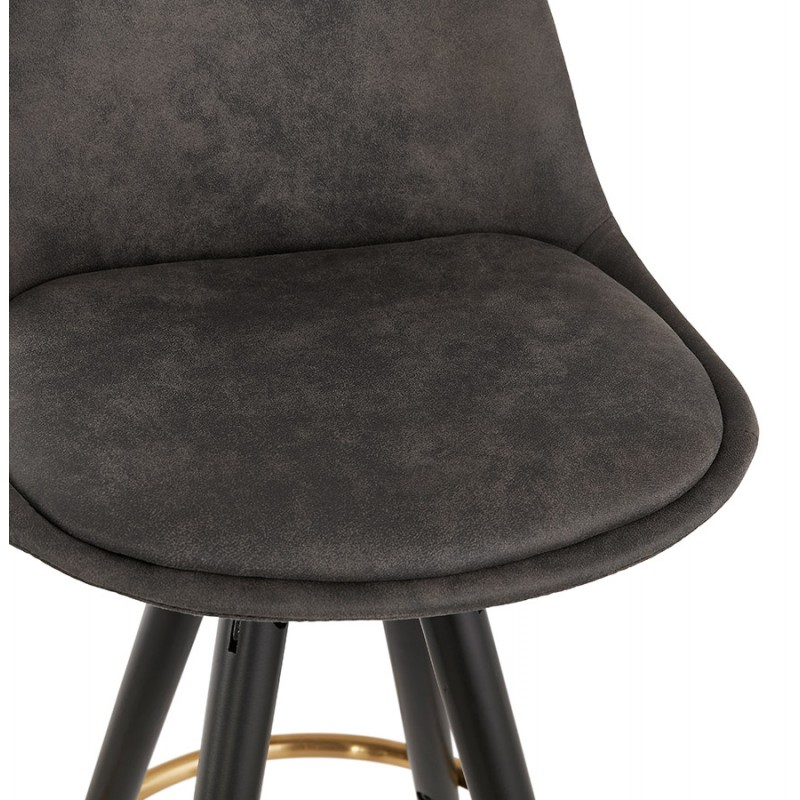 Tabouret de bar mi-hauteur vintage en microfibre pieds noirs et dorés VICKY MINI (gris foncé) - image 45723