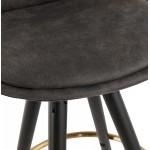 Tabouret de bar mi-hauteur vintage en microfibre pieds noirs et dorés VICKY MINI (gris foncé)