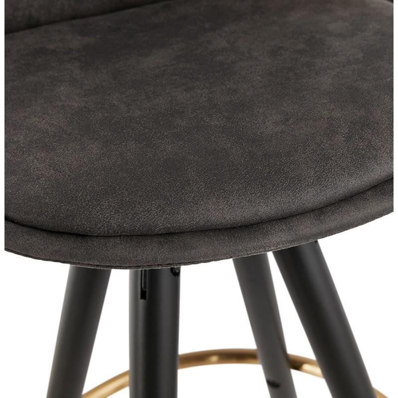 Tabouret de bar mi-hauteur vintage en microfibre pieds noirs et dorés VICKY MINI (gris foncé) - image 45724