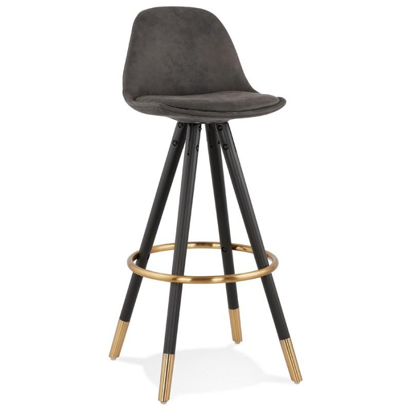 VINTAGE bar stool in microfiber black and gold feet VICKY (dark grey) - image 45729