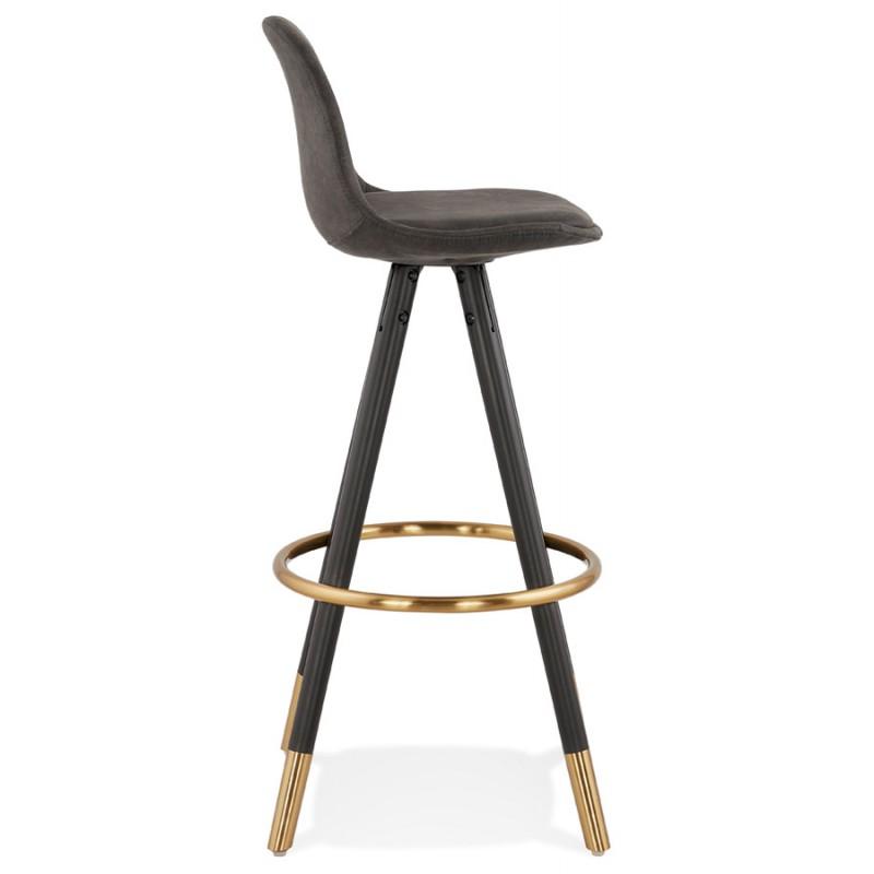 VINTAGE bar stool in microfiber black and gold feet VICKY (dark grey) - image 45731