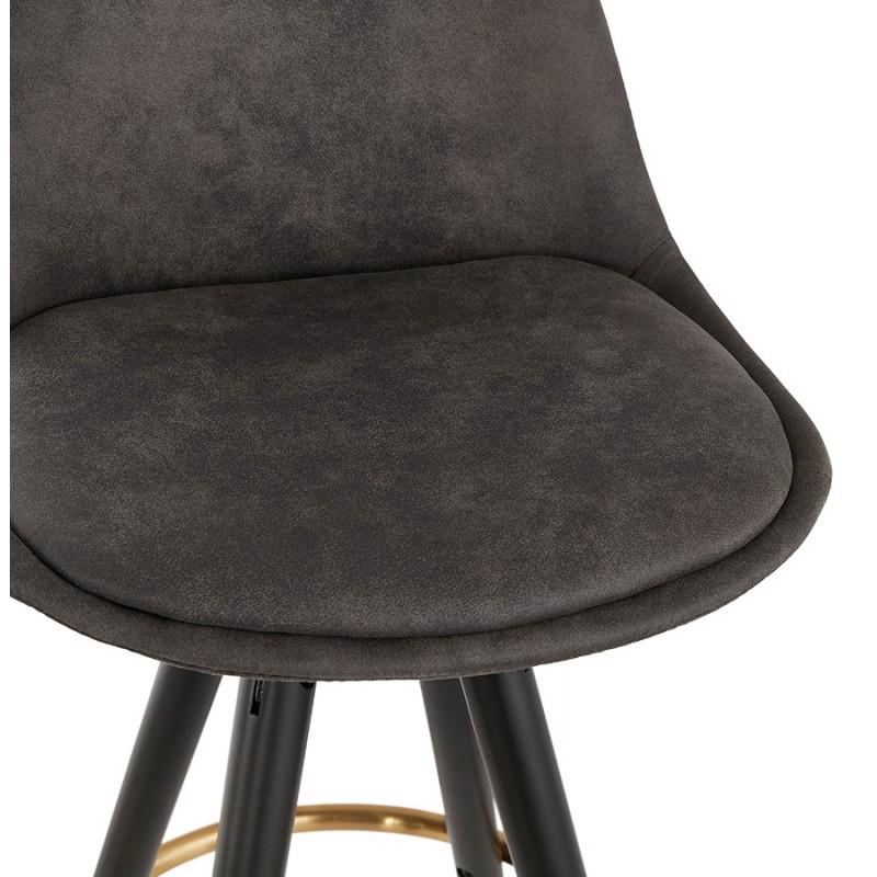 Tabouret de bar vintage en microfibre pieds noirs et dorés VICKY (gris foncé) - image 45734