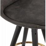 VINTAGE bar stool in microfiber black and gold feet VICKY (dark grey)