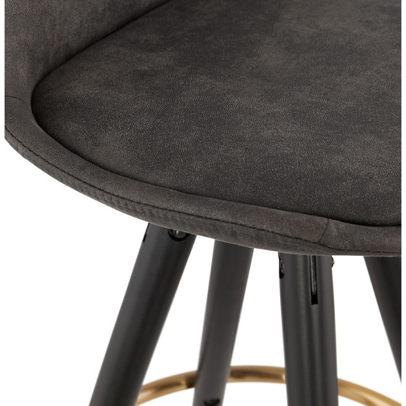 VINTAGE bar stool in microfiber black and gold feet VICKY (dark grey) - image 45736