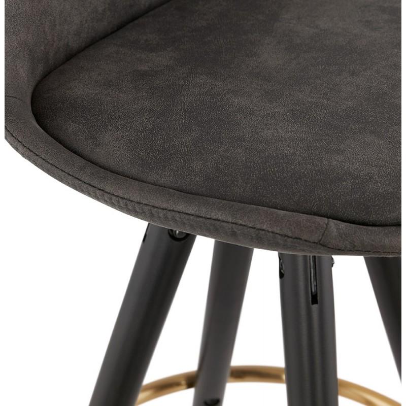 Tabouret de bar vintage en microfibre pieds noirs et dorés VICKY (gris foncé) - image 45736