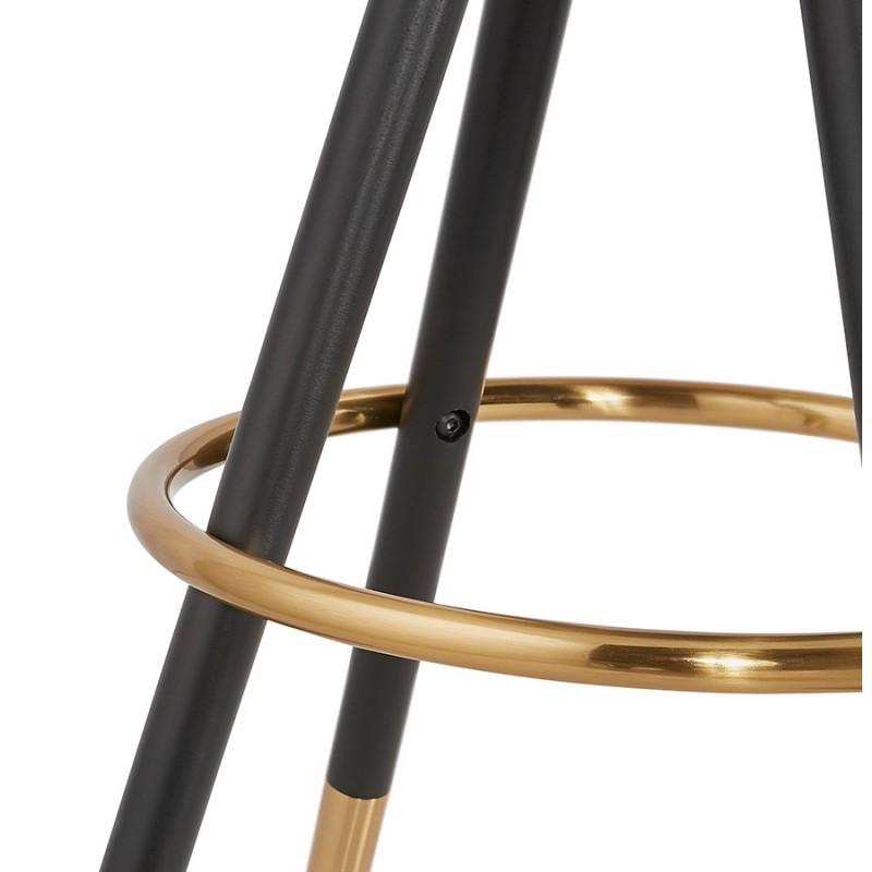 VINTAGE bar stool in microfiber black and gold feet VICKY (dark grey) - image 45738