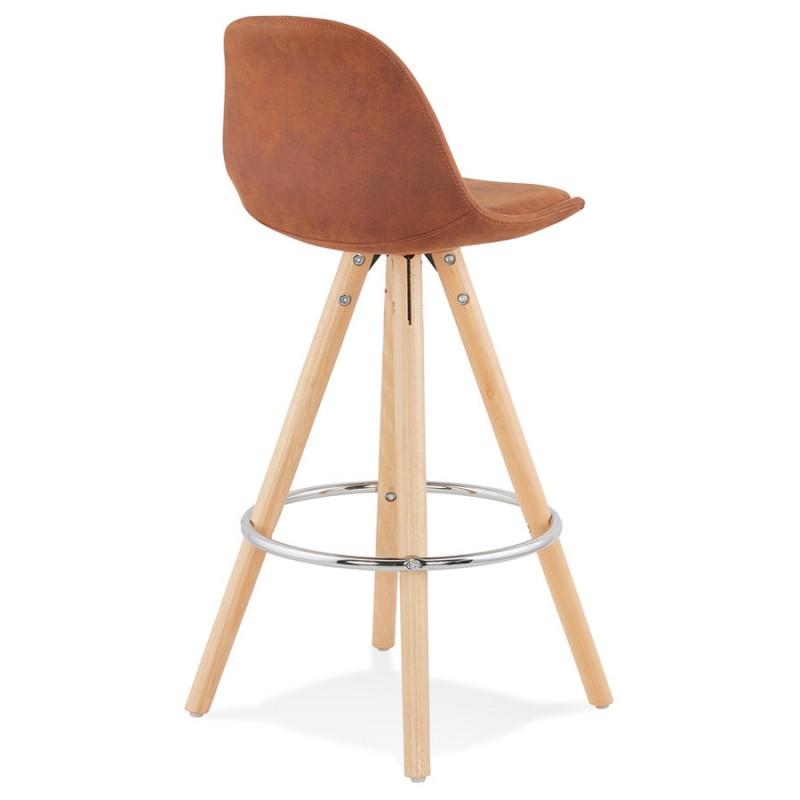 Tabouret de bar mi-hauteur scandinave en microfibre pieds bois couleur naturelle TALIA MINI (marron) - image 45743