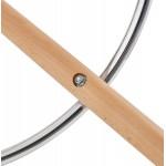 Skandinavische mittlere Höhe Bar Pad in Mikrofaser Füße Holz natürliche Farbe TALIA MINI (braun)
