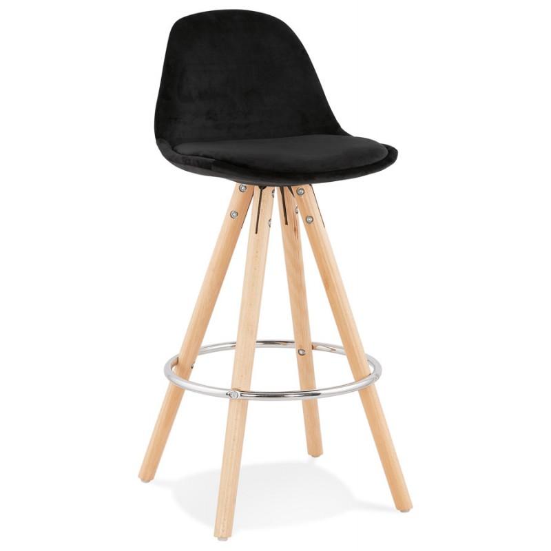 Tabouret de bar mi-hauteur scandinave en velours pieds bois couleur naturelle MERRY MINI (noir) - image 45753