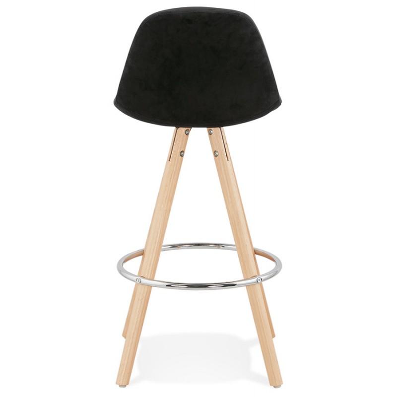 Tabouret de bar mi-hauteur scandinave en velours pieds bois couleur naturelle MERRY MINI (noir) - image 45757