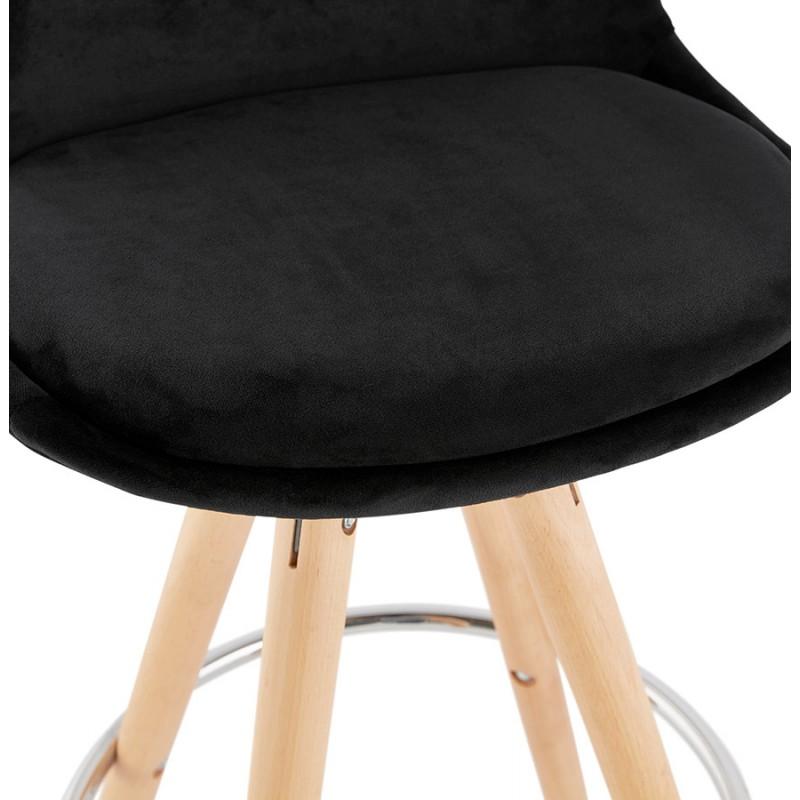 Tabouret de bar mi-hauteur scandinave en velours pieds bois couleur naturelle MERRY MINI (noir) - image 45758