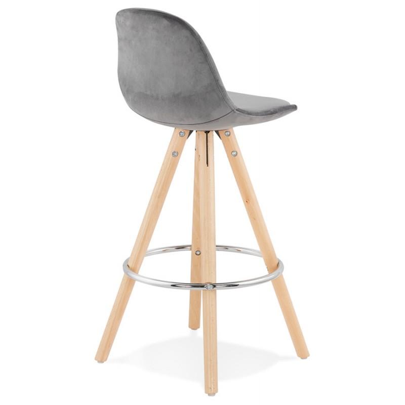 Tabouret de bar mi-hauteur scandinave en velours pieds bois couleur naturelle MERRY MINI (gris) - image 45769