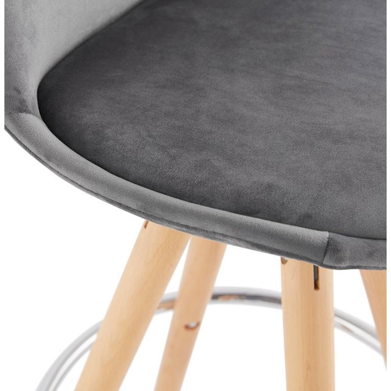 Tabouret de bar mi-hauteur scandinave en velours pieds bois couleur naturelle MERRY MINI (gris) - image 45773