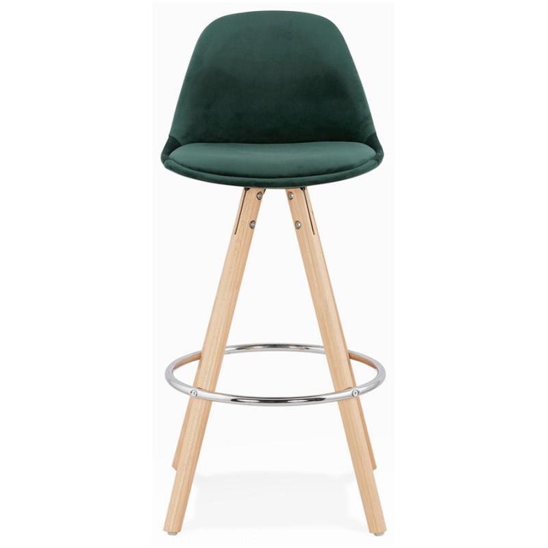 Tabouret de bar mi-hauteur scandinave en velours pieds bois couleur naturelle MERRY MINI (vert) - image 45780