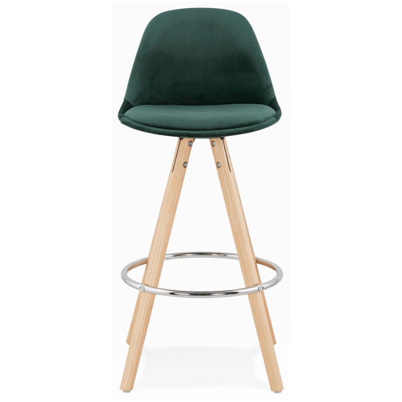 Barra de barra de altura media escandinava en pies de terciopelo de madera de color natural MERRY MINI (verde) - image 45780