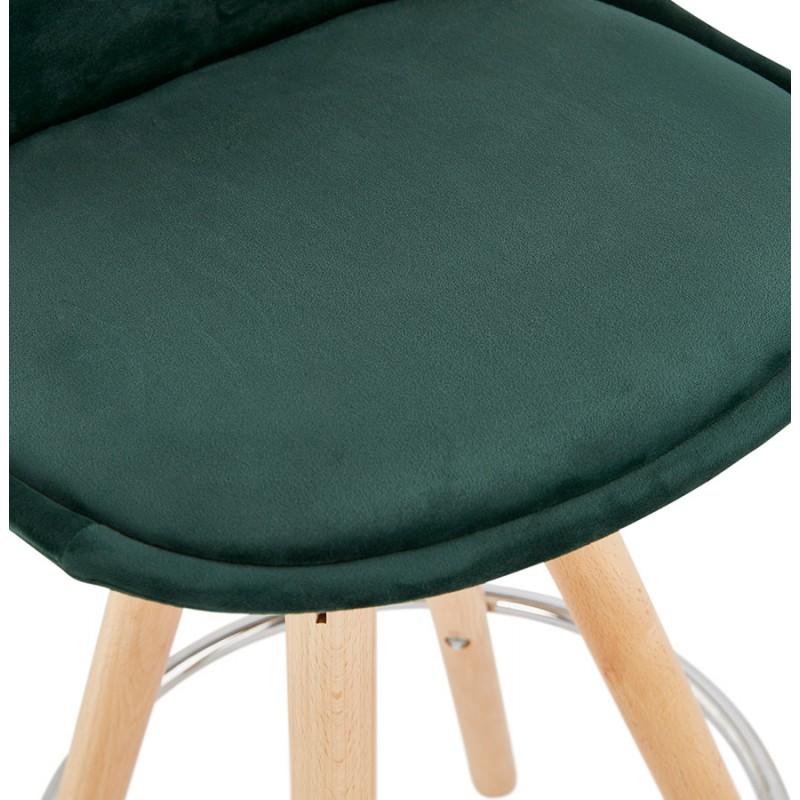 Tabouret de bar mi-hauteur scandinave en velours pieds bois couleur naturelle MERRY MINI (vert) - image 45785