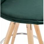 Tabouret de bar mi-hauteur scandinave en velours pieds bois couleur naturelle MERRY MINI (vert)