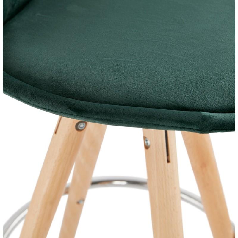 Tabouret de bar mi-hauteur scandinave en velours pieds bois couleur naturelle MERRY MINI (vert) - image 45786
