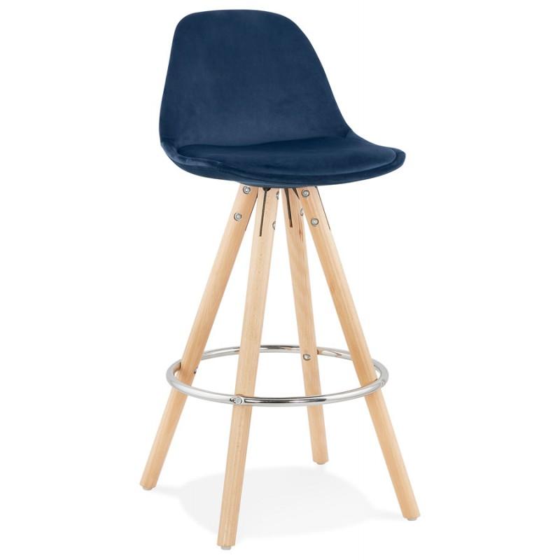 Tabouret de bar mi-hauteur scandinave en velours pieds bois couleur naturelle MERRY MINI (bleu) - image 45792