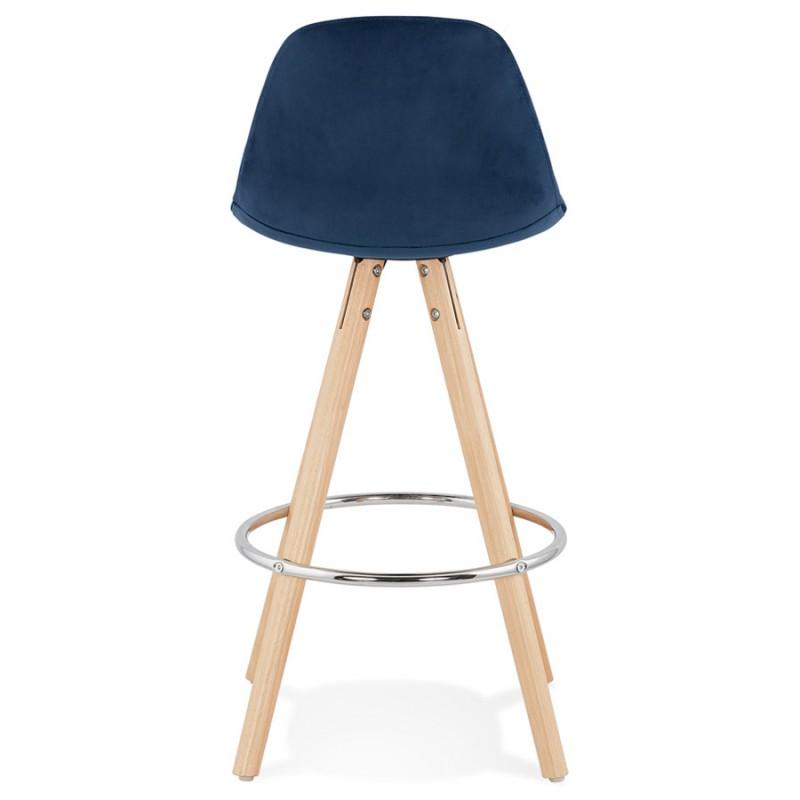 Tabouret de bar mi-hauteur scandinave en velours pieds bois couleur naturelle MERRY MINI (bleu) - image 45796