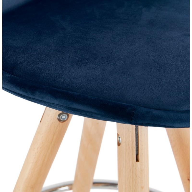 Tabouret de bar mi-hauteur scandinave en velours pieds bois couleur naturelle MERRY MINI (bleu) - image 45799