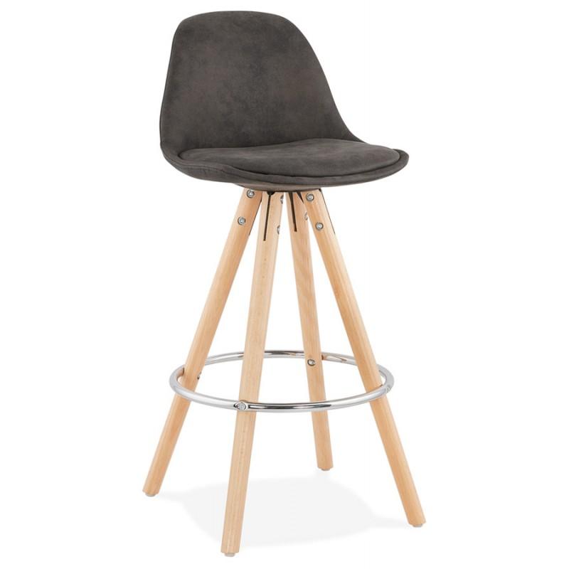 Almohadilla de barra de altura media escandinava en madera de microfibra de madera de color natural TALIA MINI (gris oscuro) - image 45805