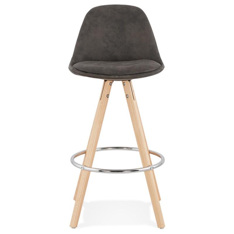 Scandinavian mid-height bar pad in microfiber feet wood natural color TALIA MINI (dark grey) - image 45806