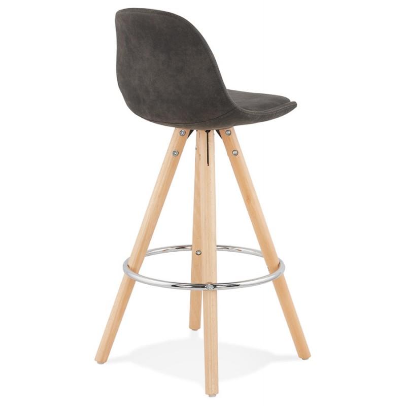 Scandinavian mid-height bar pad in microfiber feet wood natural color TALIA MINI (dark grey) - image 45808
