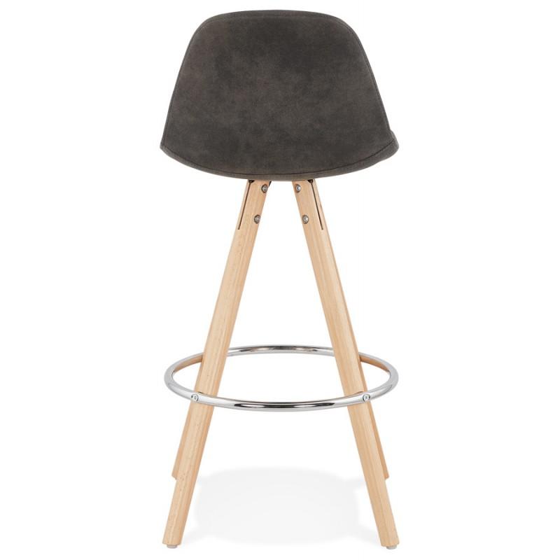 Scandinavian mid-height bar pad in microfiber feet wood natural color TALIA MINI (dark grey) - image 45809